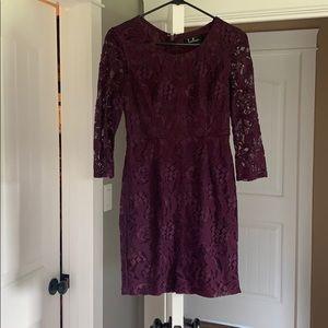 Wine color lace dress